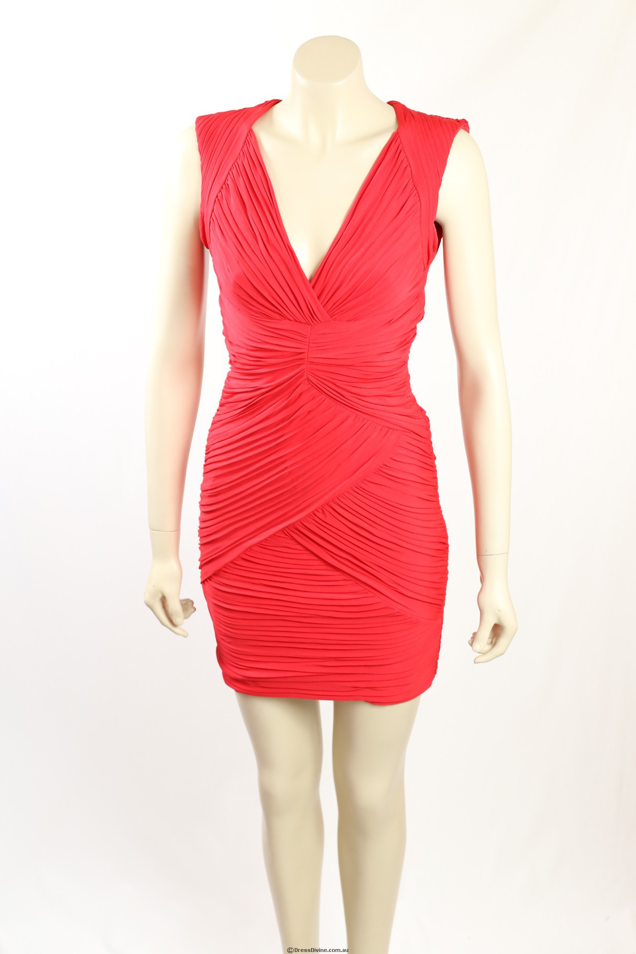 New Bcbg Size Xs Red Ruched Party Cocktail Dress Rrp