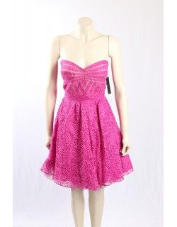 AQUA -Size 14- Pink Formal Cocktail Dress w/ Lace Overlay