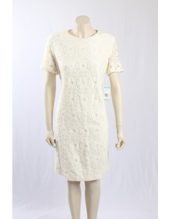 Evan Picone Size 18- Cream colour dress with Lace overlay