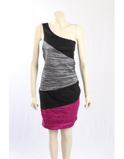 Wishes -Size 20- Pink Black Ruched Cocktail Dress
