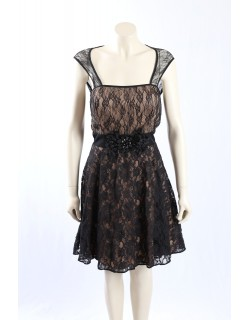 Betsy Adam -Size 14- Black Lace Formal Cocktail Dress