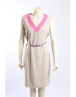 Calvin Klein - Size 16/18- Beige dress with pink trim and belt