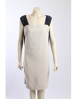 Donna Karen NY -Size 24W- Beige and Navy Dress