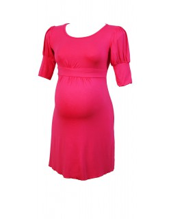 Rosy short sleeved maternity dress
