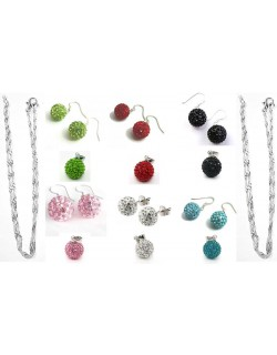 Assorted 10mm Mini Shamballa Bola set of Earings, Pendat and Necklace