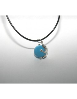 Chiming Blue Frog-Bola with leather necklace