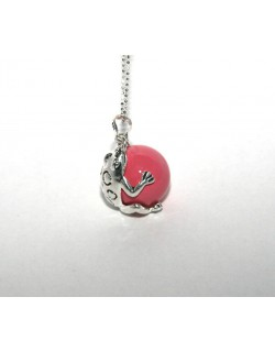 Chiming Pink Frog-Bola with metal chain