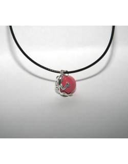 Chiming Pink Frog-Bola with leather necklace