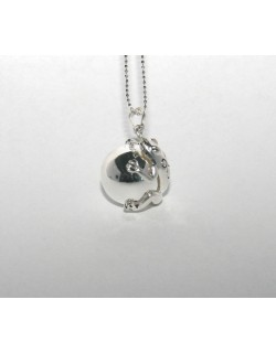 Chiming silver Frog-Bola with silver colored chain