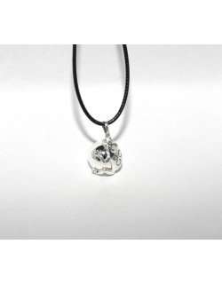 Chiming silver Frog-Bola with leather necklace