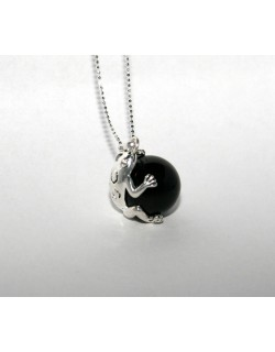 Chiming black Frog-Bola with metal chain