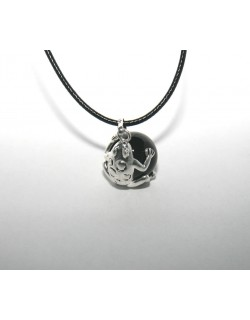 Chiming black Frog-Bola with leather necklace
