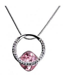 Crystal pendant with necklace - Pink