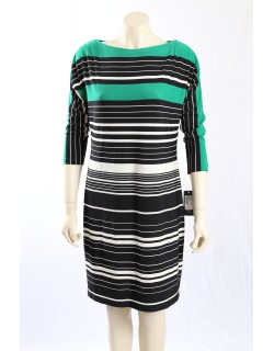 Ralph Lauren - Size 18P - Green, Black, White Striped Dress