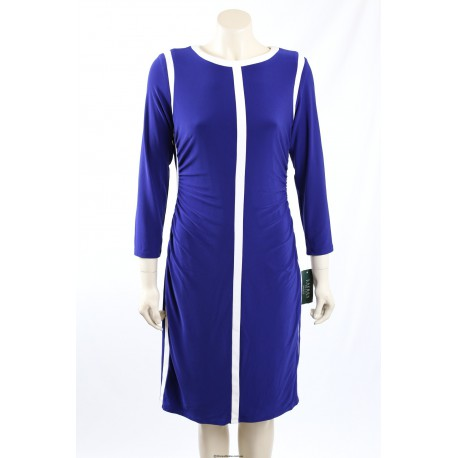 Ralph Lauren Blue Matt Jersey Work Dress - Size 14