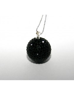 Black Shamballa with silver chain