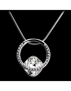 Crystal pendant with necklace - White