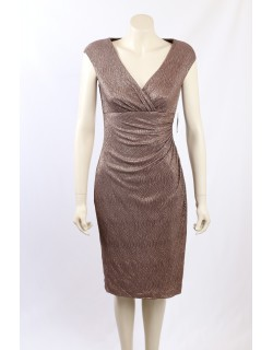 Ralph Lauren - Size 8/10 - Bronze Metallic Formal Cocktail Dress