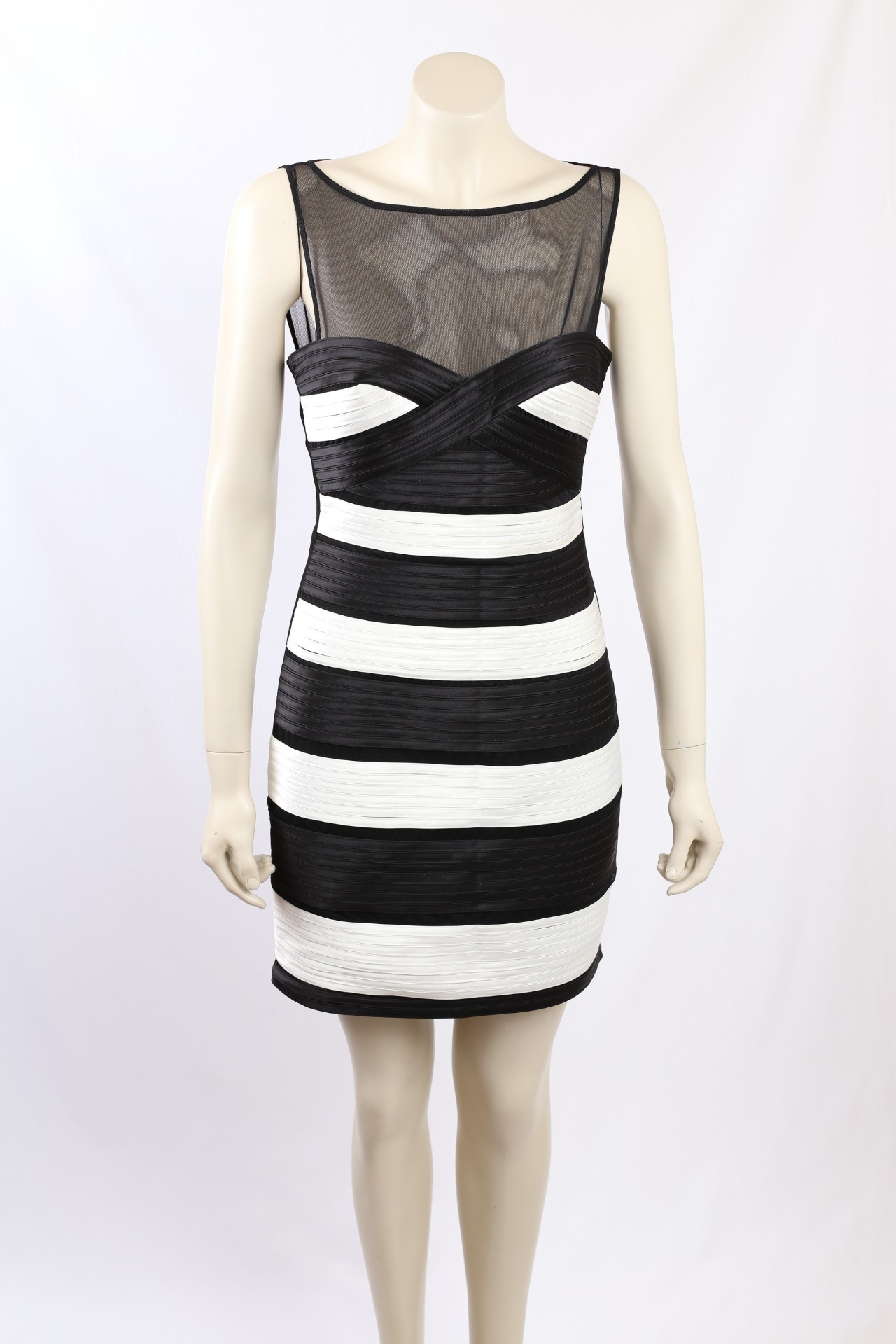 Bcbg Size 10 Black And White Occasion Dress