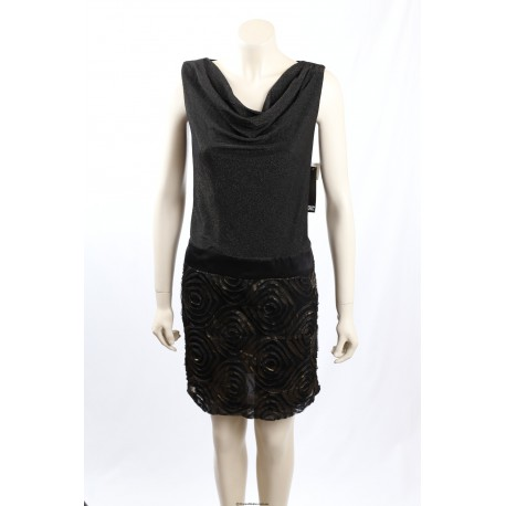 Adrianna Papell Black Shimmer Cocktail Dress Size 12-14