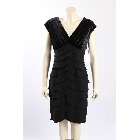 Adrianna Papell black cocktail dress in velvet shutter pleat