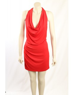 BCBGMAXAZRIA Red Ruched Jersey Cocktail Dress