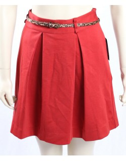 Tommy Hilfiger red pleated skirt w/ belt