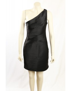 BCBG One Shoulder Black Sateen Cocktail Dress
