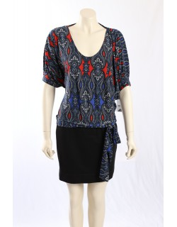 Donna Morgan -Size 16- Black Pattern U-Neck Dress