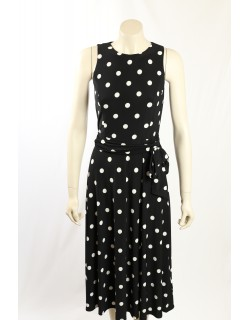 Ralph Lauren -Size 6- Navy White Polka Dot Dress