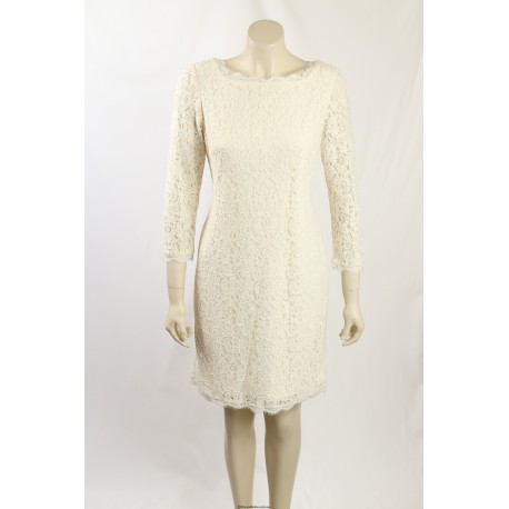 Adrianna Papell Cream Lace Cocktail Dress Size 14