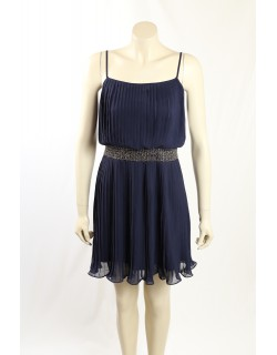 Adrianna Papell- Size 6- Navy Pleated Formal Cocktail Dress