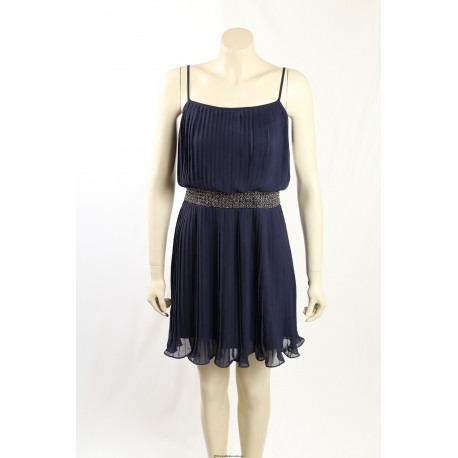 Adrianna Papell- Size 6- Navy Pleated Cocktail Dress