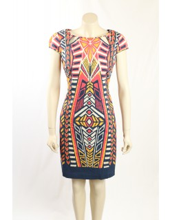 Adrianna Papell- Size 10- Printed Cotton Casual Dress