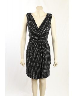 Ralph Lauren -Size 10- Black White Polka Dot Dress