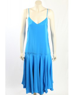 Ralph Lauren -Size 14- Blue Silk Cocktail Dress
