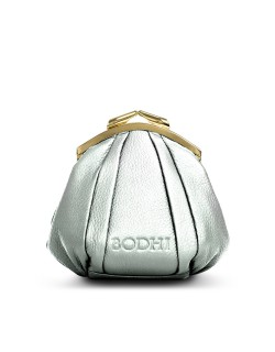BODHI Silver leather Purse with Golden Frame