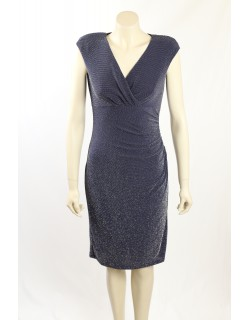 Ralph Lauren -Size 10/12- Navy Silver Sequin Cocktail Dress