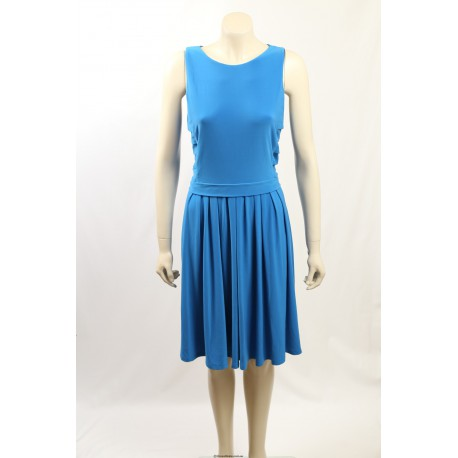 Ralph Lauren Blue Pleated Sleeveless Wear to Work Dress