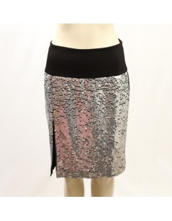 DKNY - Size 12 - Black Silk Slit Pencil Skirt in Paillettes