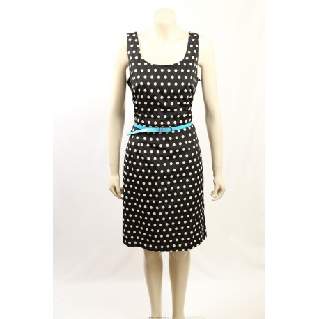 Adrianna Papell -Size 8- Navy Dress with White Polka Dots
