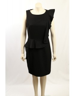 Calvin Klein -Size 12/14- Black Ruffle Lined Work Dress