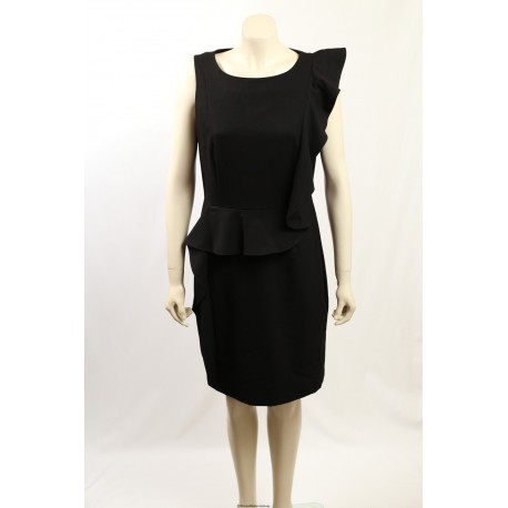 Calvin Klein -Size 14- Black Ruffle Lined Work Dress