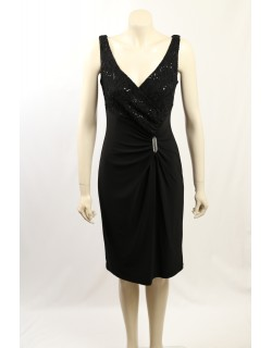 Ralph Lauren -Size 10- Black Lace Trim Cocktail Dress