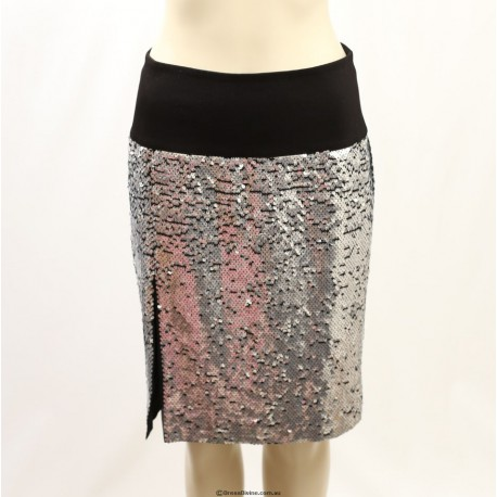 DKNY Black Silk Slit Pencil Skirt in Paillettes