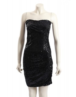 DKNY -Size 14- Black Sequined Party Cocktail Dress