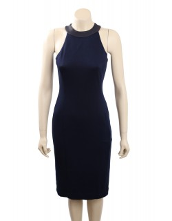 Ralph Lauren -Size 6- Navy, leather trim stretch dress