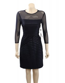 ADRIANNA PAPELL Inset 3/4 Sleeves Navy Mesh Cocktail Dress