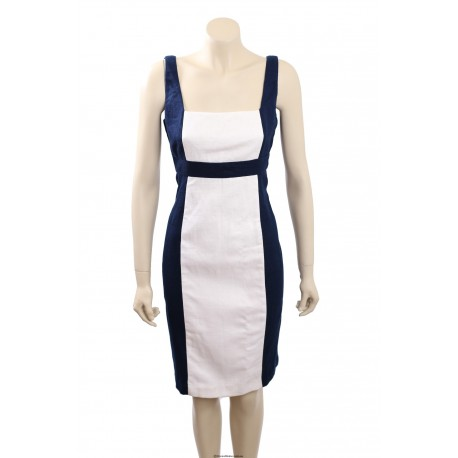 Ralph Lauren White/Indigo Cotton Wear to Work Dress