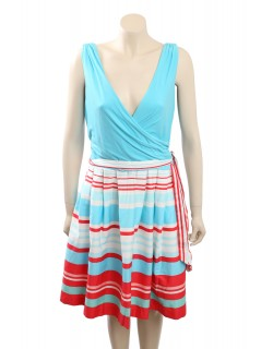 Ralph Lauren V-Neck Blue Striped Sleeveless Casual Dress